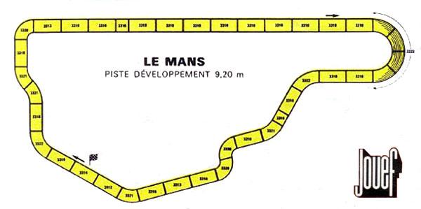 Plan du circuit des 24 heures du Mans par Jouef en 1974