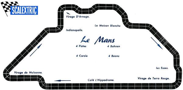 Plan du circuit des 24 Heures du Mans par Scalextric en 1960