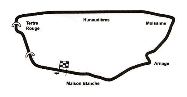 Tracé du circuit des 24 heures du Mans de 1956 à 1967