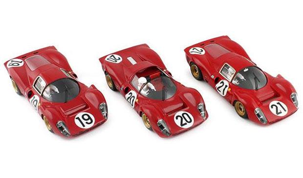 Les trois Ferrari P4 des 24 heures du Mans 1967