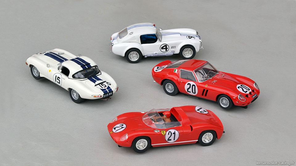 Ferrari 250P MRRC, Ferrari 250 GTO Scalextric, Jaguar E Lightweight Revell, AC Cobra Reprotec