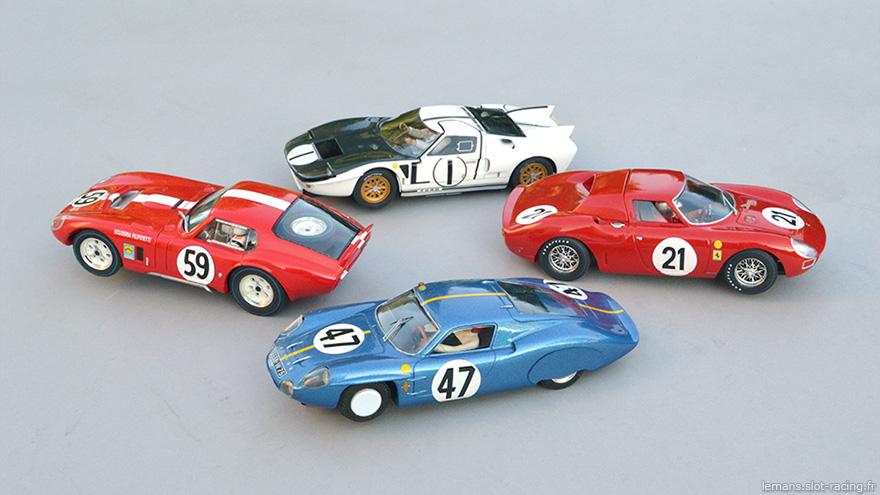 Cobra Daytona Revell, Ford MkII Le Mans Miniatures, Ferrari 250LM Fly, Alpine M64 PSK