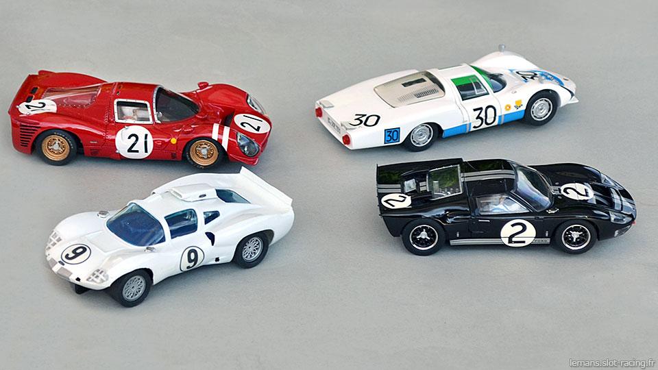 Chaparral 2D Strombecker, Ferrari 330 P3 Racer, Porsche 906L TKP, Ford MkII Scalextric