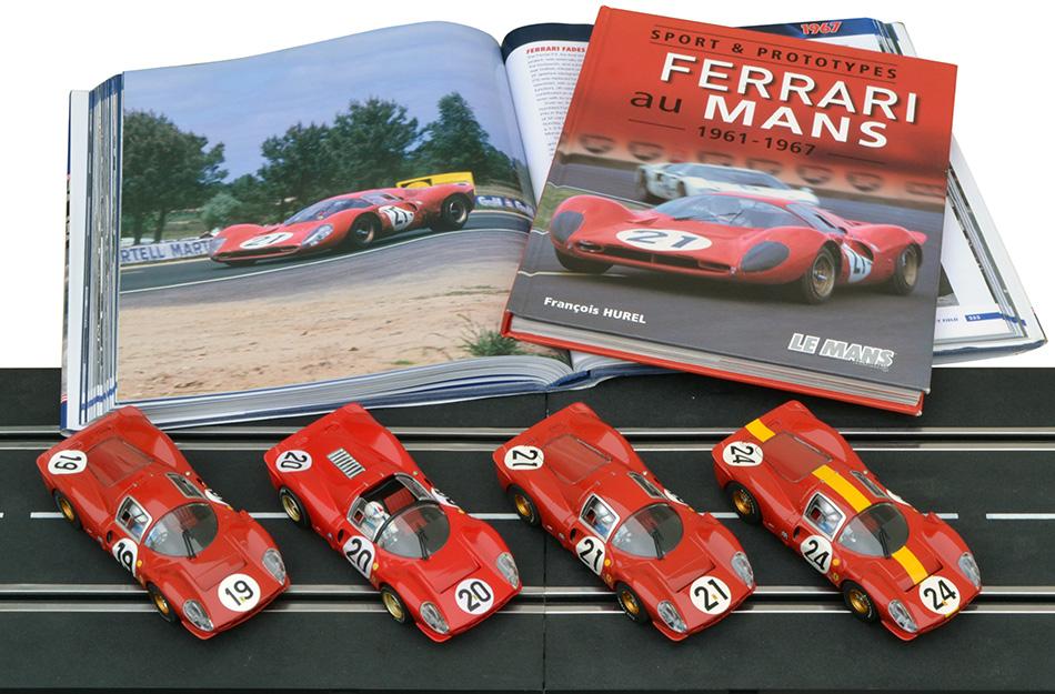 Les trois Ferrari 330 P4 Scalextric des 24 heures du Mans 1967