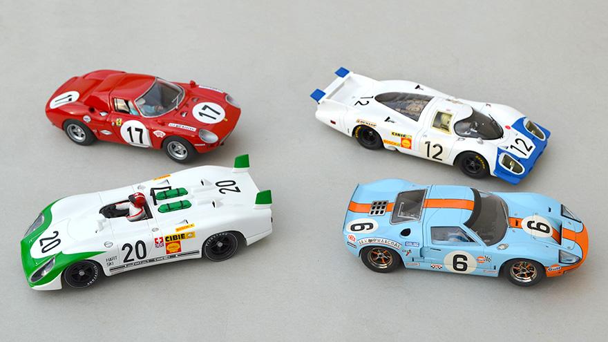 Ferrari 250 LM Fly, Porsche 917 Le Mans Miniatures, Ford GT40 Scalextric, Porsche 908 Fly