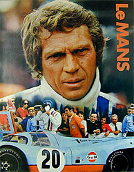 L'affiche du film Le Mans avec Steeve Mc Queen