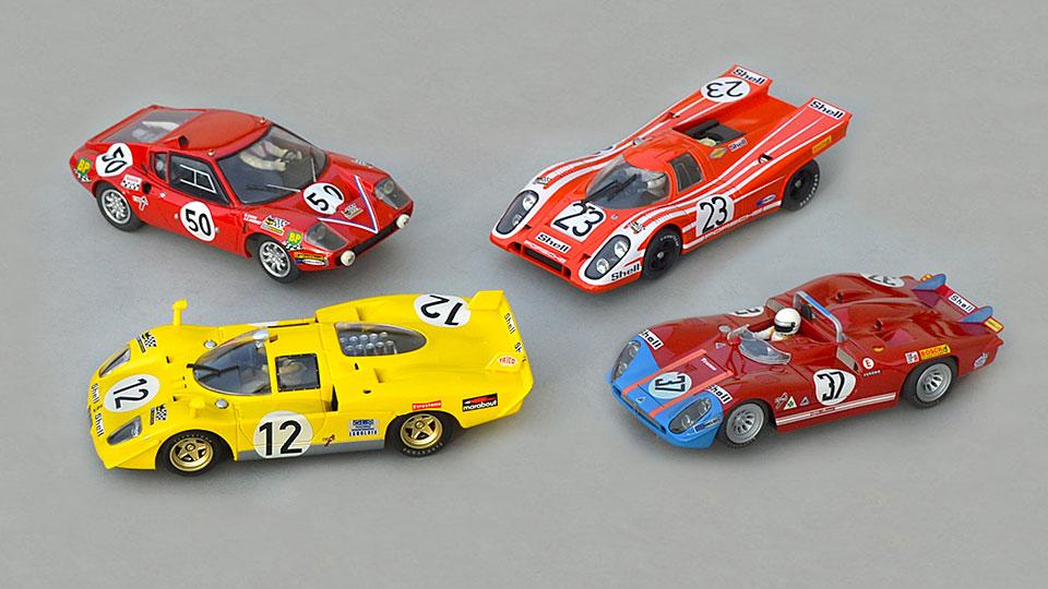 Ferrari 512S Fly, Ligier JS1 PSK, Porsche 917 Fly, Alfa-Roméo T33/3 Racer