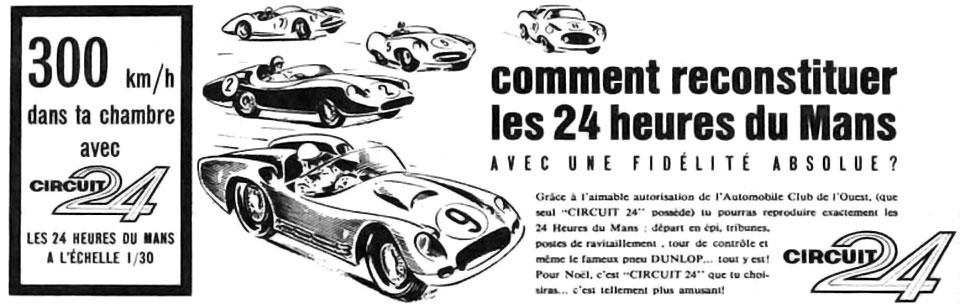 Une publicité pour le Circuit 24 en 1962.