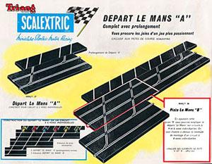 """Extrait du catalogue Scalextric 1962, le départ """"Le Mans"""""""